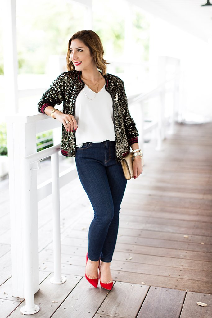 Blame-it-on-Mei-Miami-Fashion-Blogger-2016-Holiday-Outfit-NYE-Look-Sequin-Bomber-Jacket-High-Rise-Jeans-Suede-Red-Pumps-Gold-LV-Louise-Clutch-Chanel-Brooch-Pin