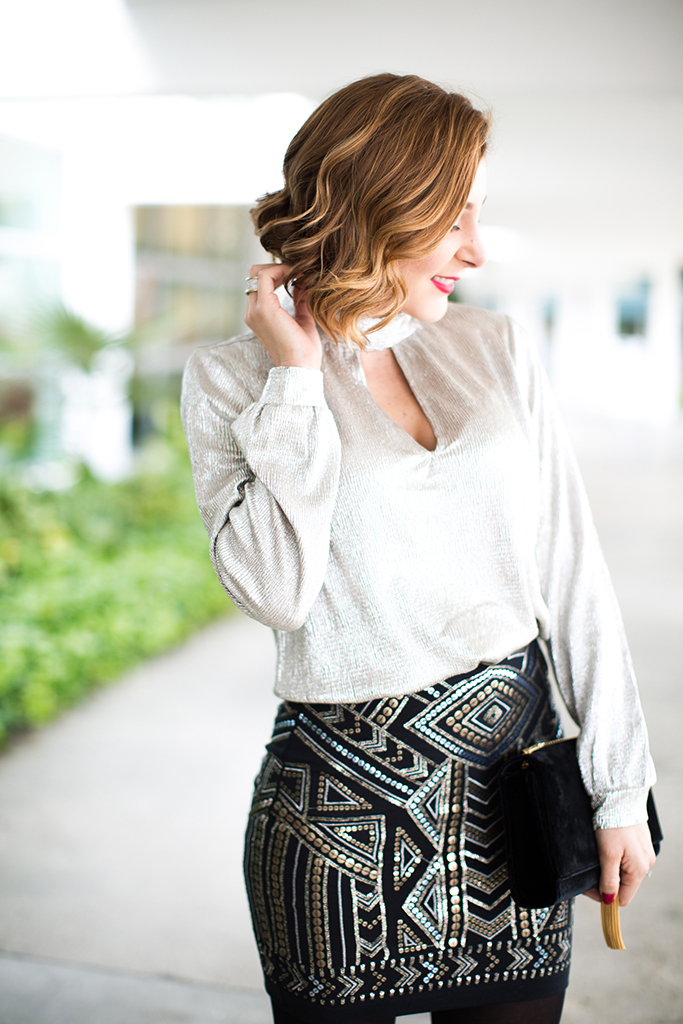 Blame-it-on-Mei-Miami-Fashion-Blogger-2016-Holiday-Outfit-NYE-Look-Metallic-Choker-Blouse-Art-Deco-Mini-Skirt-Mixed-Metals-Studs-YSL-Tassel-Suede-Clutch-Soft-Curls-Short-Hair