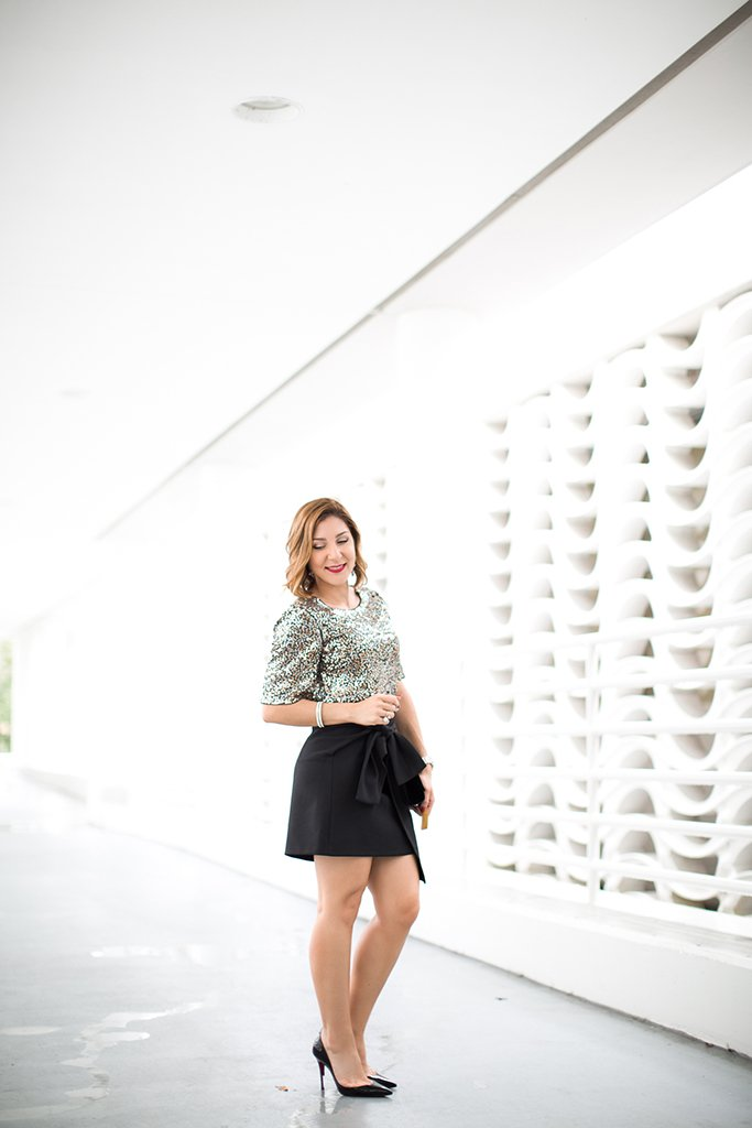 -Blame-it-on-Mei-Miami-Fashion-Blogger-2016-Holiday-Outfit-NYE-Look-Sequin-Blouse-Knot-Skirt-Patent-Iriza-Louboutin-YSL-Tassel-Suede-Handbag-Crystal-Drop-Earrings-Curls-on-Short-Hair-