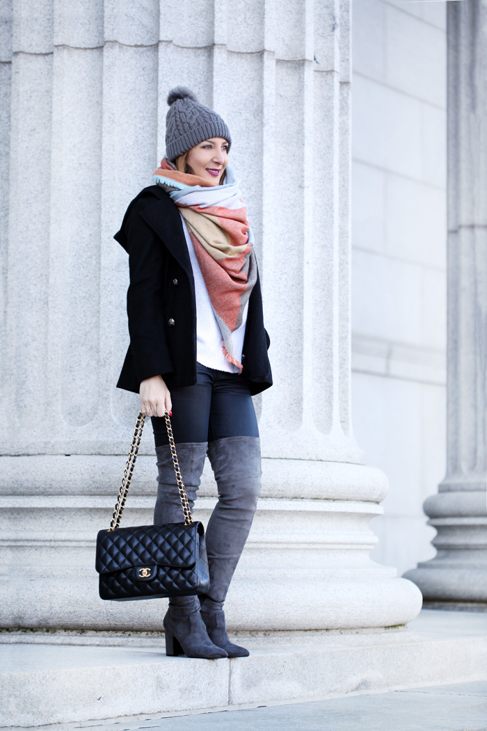 Blame-it-on-Mei-Miami-Fashion-Travel-Blogger-2016-Winter-Fall-Look-How-To-Wear-Blanket-Scarf-Pom-Beanie-Gray-Over-The-Knee-Boots-with-Jeans-Minneapolis-Instititute-of-Art-Chanel-Classic