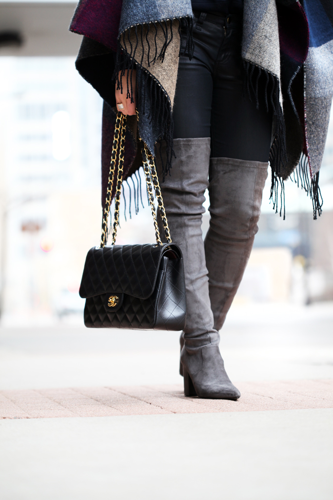 It S A Wrap Color Block Poncho Over The Knee Boots Blame It On Mei Miami Fashion Blogger