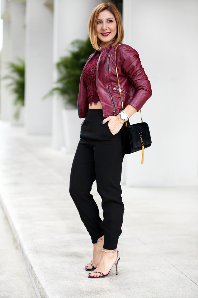 Blame-it-on-Mei-Miami-Fashion-Blogger-2016-Art-Basel-Miami-Lace-Crop-Top-With-Moto-Jacket-Joggers-Date-Night-Look-YSL-Tassel-Valentino-Rockstud-Sandal