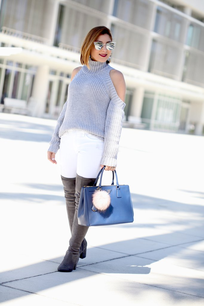 Blame-it-on-Mei-Miami-Fashion-Blogger-2017-Casual-Outfit-Fall-Look-Knit-Sweater-Cold-Shoulder-Steve-Madden-Larah-OTK-Boots-Prada-Saffiano-Blue-Baublebar-Ellis-Drop-Earrings