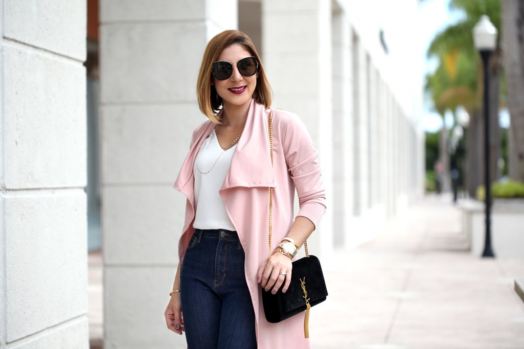Blame-it-on-Mei-Miami-Fashion-Blogger-2017-Casual-Valentines-Day-Look-Pink-Duster-Jeans-YSL-Suede-Tassel-Handbag-Leopard-Louboutin-Heels