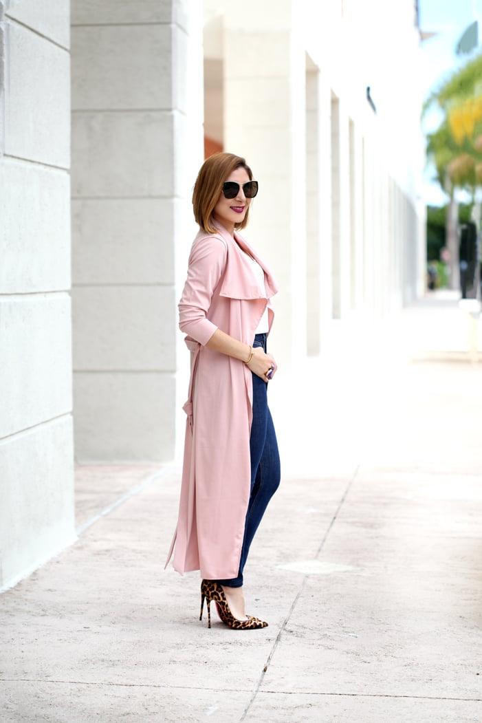 Blame-it-on-Mei-Miami-Fashion-Blogger-2017-Casual-Valentines-Day-Look-Pink-Duster-Jeans-YSL-Suede-Tassel-Handbag-Leopard-Louboutin-Heels