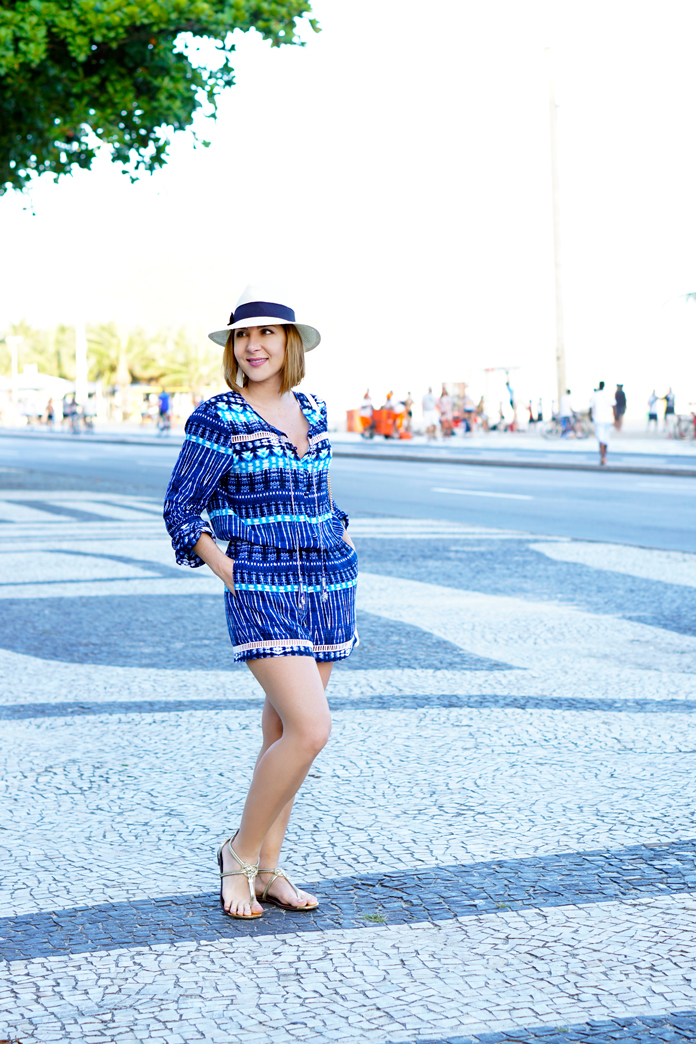 Blame-it-on-Mei-Miami-Fashion-Travel-Blogger-2017-Travel-Look-Casual-Outfit-Panama-Hat-Tribal-Print-Romper-Gold-Knot-Sandal-White-Tassel-Crossbody