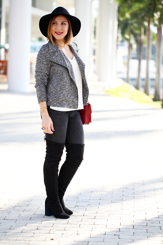 Letu0026#39;s Reboot Knit Moto Jacket + OTK Boots - Blame it on Mei | Miami Fashion Blogger Mei Jorge