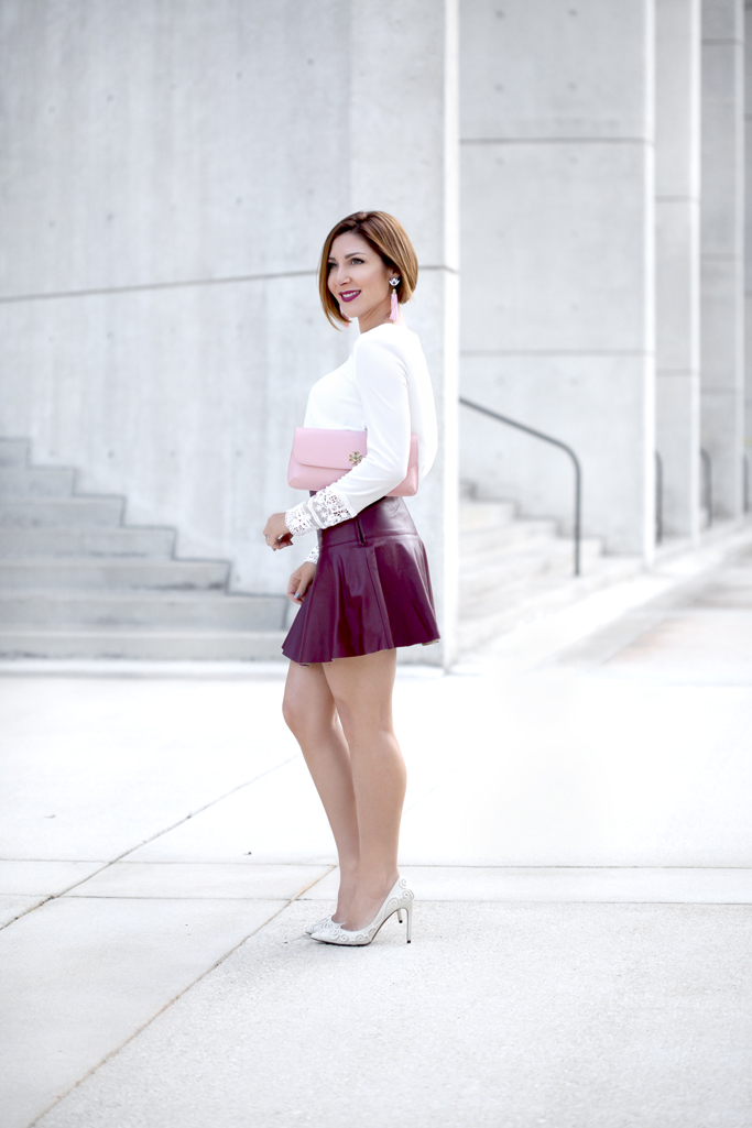Blame-it-on-Mei-Miami-Fashion-Blogger-2017-Valentines-Day-Look-Date-Night-Outfit-White-Blouse-with-Burgundy-Maroon-Short-Skater-Skirts-Pink-Diana-Tory-Burch-Clutch-Tassel-Earrings