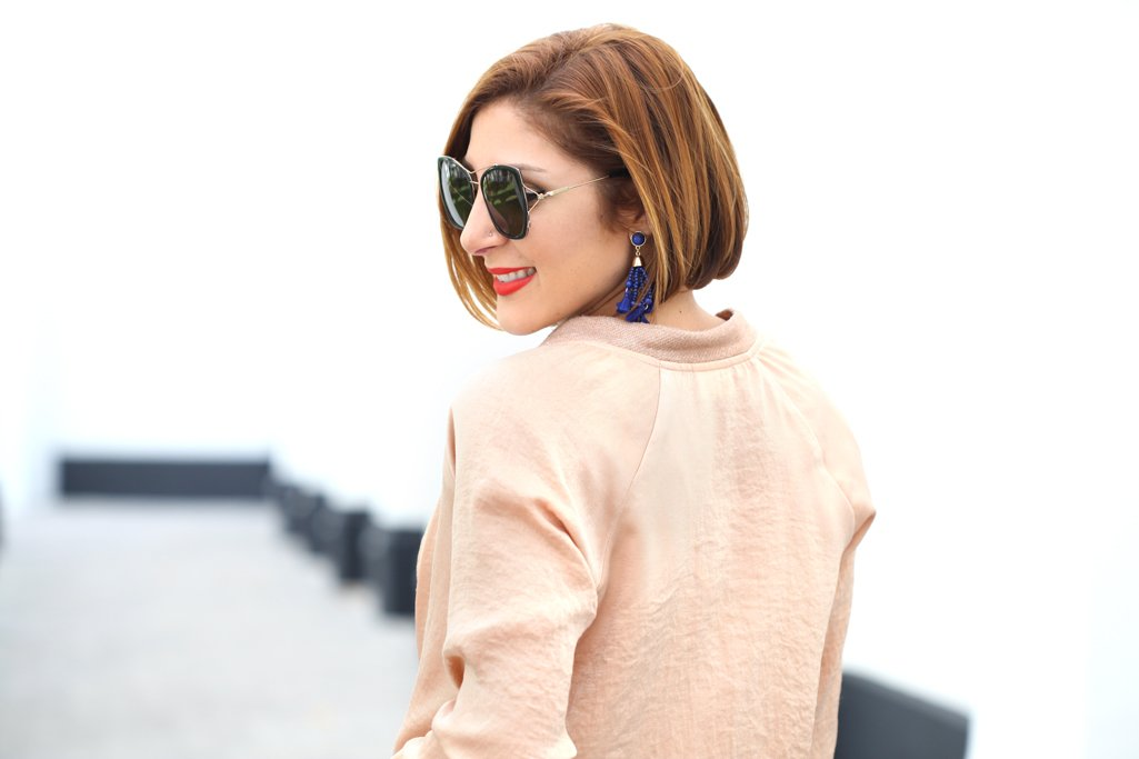 Blame-it-on-Mei-Miami-Fashion-Blogger-2017-Casual-Look-Gold-Metallic-Bomber-Jacket-Gucci-Marmont-Handbag-with-Pom-Pom-Fur-Tassel-Baublebar-Earrings-Short-Hair