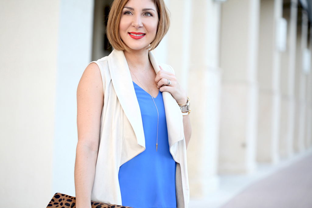 Blame-it-on-Mei-Miami-Fashion-Blogger-2017-Date-Night-Suede-Vest-Blue-Cami-with-White-Destroyed-Jeans-Valentino-Rockstud-Ankle-Strap-Sandal-Leopared-Clutch-Taudrey-Bangels