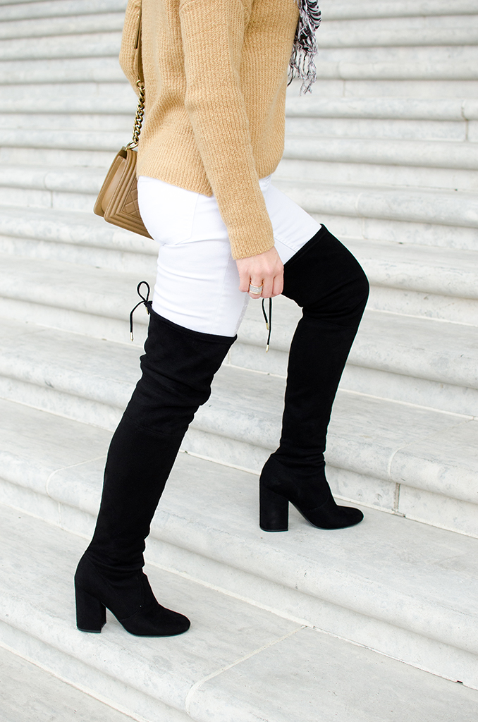 Blame-it-on-Mei-Miami-Fashion-Blogger-2017-Casual-Fall-Winter-Look-Oversize-Sweater-with-Pom-Pom-Beani-Chanel-Boy-Over-The-Knee-Boots-OTK-Zebra-Print-Scarf-Washington-DC