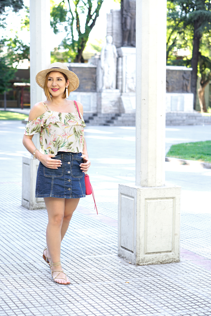 Blame-it-on-Mei-Miami-Fashion-Travel-Blogger-2017-Mendoza-Argentina-Summer-Travel-Look-Casual-Outfit-Boater-Hat-Floral-Off-The-Shoulder-Top-Tassel-Earrings-Denim-A-Line-Skirt-Lace-Up-Sandals