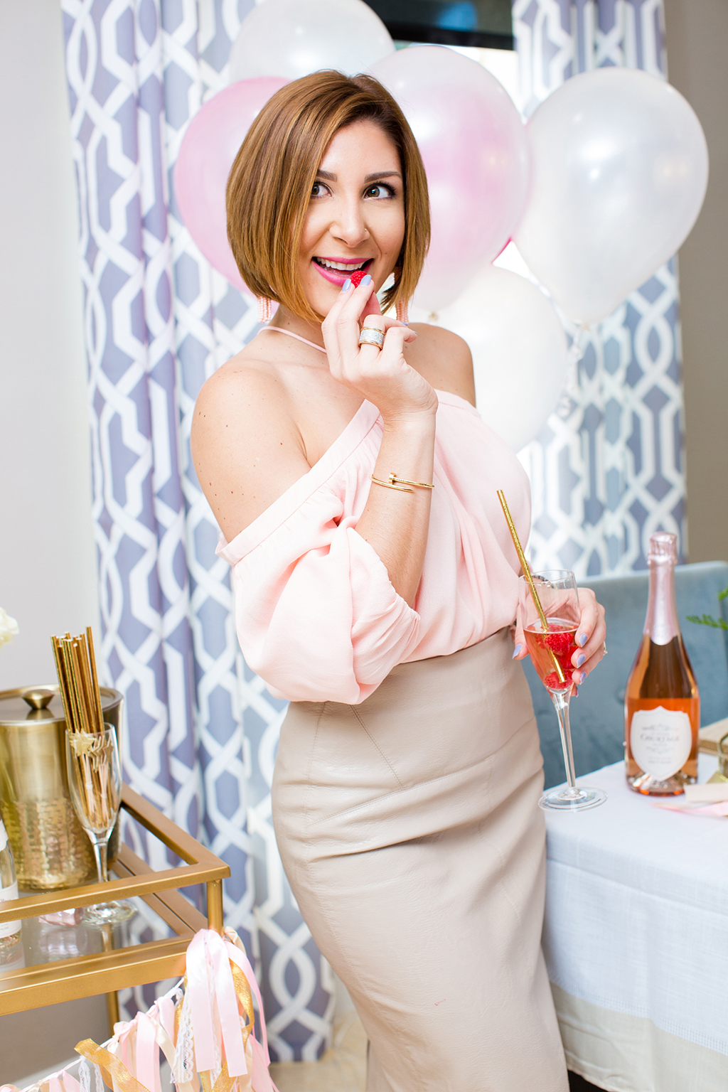 Blame-it-on-Mei-Miami-Fashion-Blogger-2017-Valentines-Day-Look-Galentines-Cocktails-Party-with-Le-Grand-Courtage-Champagne-Pink-Halter-Off-The-shoulder-Top-Faux-Leather-Skirt-Gold-Sandals-Short-Hair