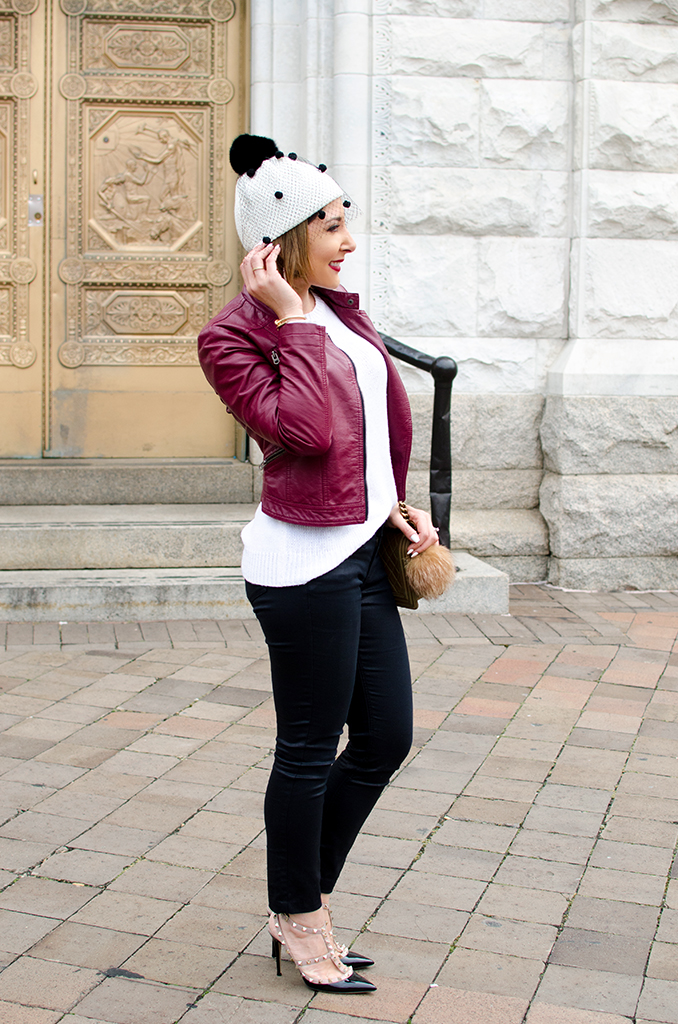 Blame-it-on-Mei-Miami-Fashion-Blogger-2017-Casual-Fall-Winter-Look-Knit-Sweater-with-Moto-Burgundy-Oxblood-Maroon-Jacket-Tulle-Pom-Pom-Beanie-Chanel-Boy-Valentino-Sandals-Washington-DC