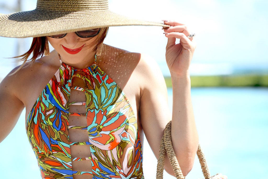 Hello sunshine abstract floral one piece pom pom beach bag at caribe hilton blame it on mei for Travel swimsuit