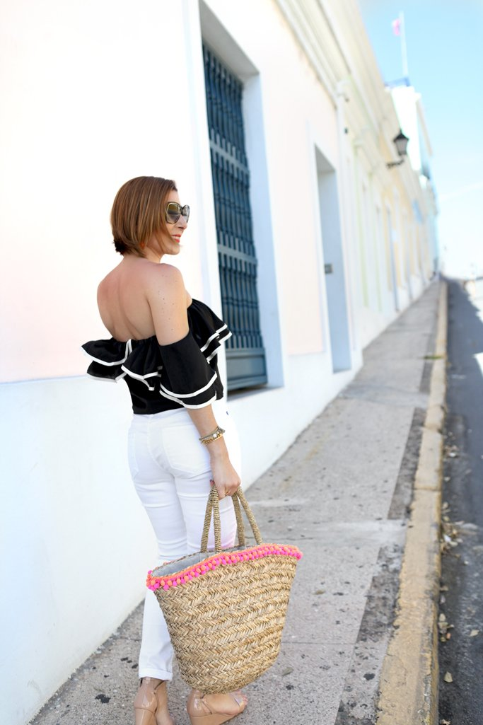Blame-it-on-Mei-Miami-Fashion-Blogger-Travel-Blog-2017-Casual-Summer-Look-Spring-Outfit-Ruffle-Off-the-Shoulder-Top-Pom-Pom-Beach-Bag-Earrings-Puerto-Rico-Old-San-Juan