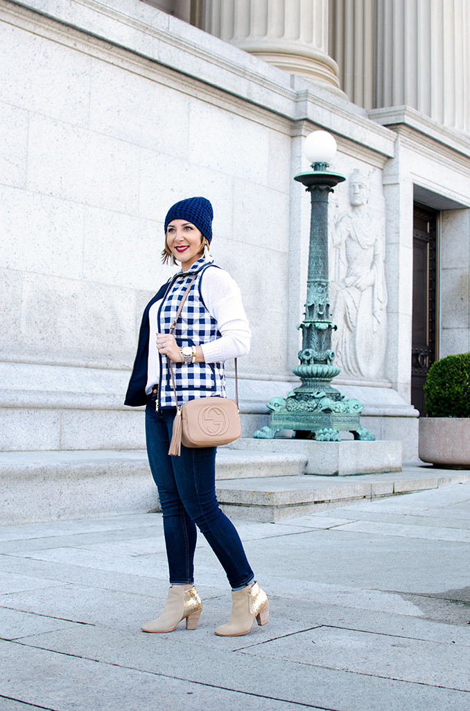 Blame-it-on-Mei-Miami-Fashion-Blogger-2017-Casual-Fall-Winter-Look-Knit-Sweater-with-Quilted-Gingham-Vest-Jeans-Gold-Glitter-Ankle-Boots-Gucci-Soho-Washington-DC