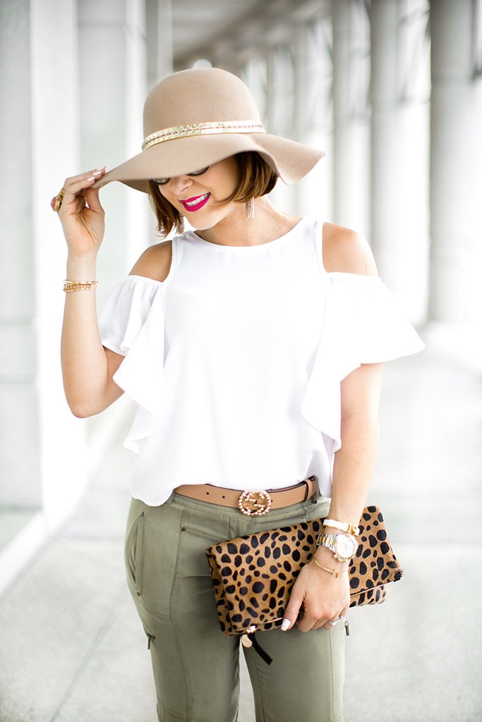 Blame-it-on-Mei-Miami-Fashion-Blogger-2017-Casual-Summer-Look-Spring-Outfit-White-Top-with-Olive-Jogger-Pants-Nude-Floppy-Hat-Claire-V-Leopard-Clutch-Marc-Fisher-Platform-Wedges