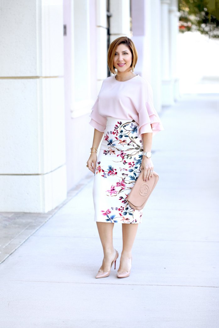 Blame-it-on-Mei-Miami-Fashion-Blogger-2017-Elegant-Spring-Look-Easter-Outfit-Ruffle-Top-with-Floral-Pencil-Skirt-Blush-Louboutin-So-Kate-Heels-Gucci-Soho-Clutch-Gold-Tassel-Pinata-Earrings