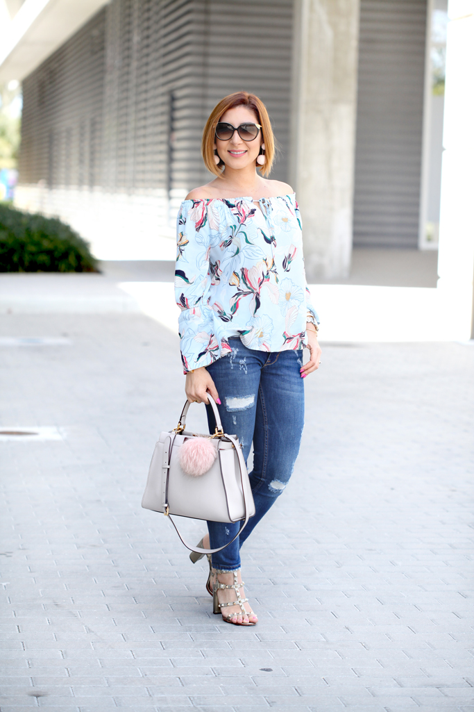 Blame-it-on-Mei-@blameitonmei-Miami-Fashion-Blogger-2017-Casual-Spring-Look-Outfit-Floral-Off-the-shoulder-top-Destroyed-Denim-Valentino-City-Sandals-Fendi-Gray-Peekaboo-Pom-Pom-Earrings