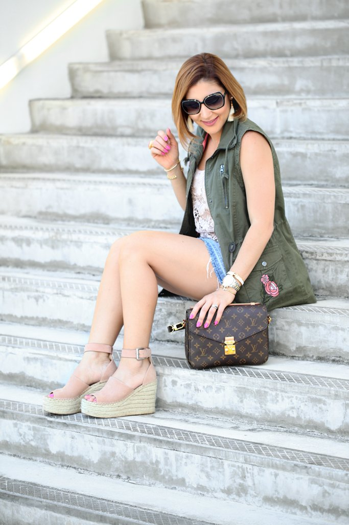 Blame it on Mei Miami Fashion Blogger 2017 Adalyne Marc Fisher Platform Wedge Embroidered Utility Jacket