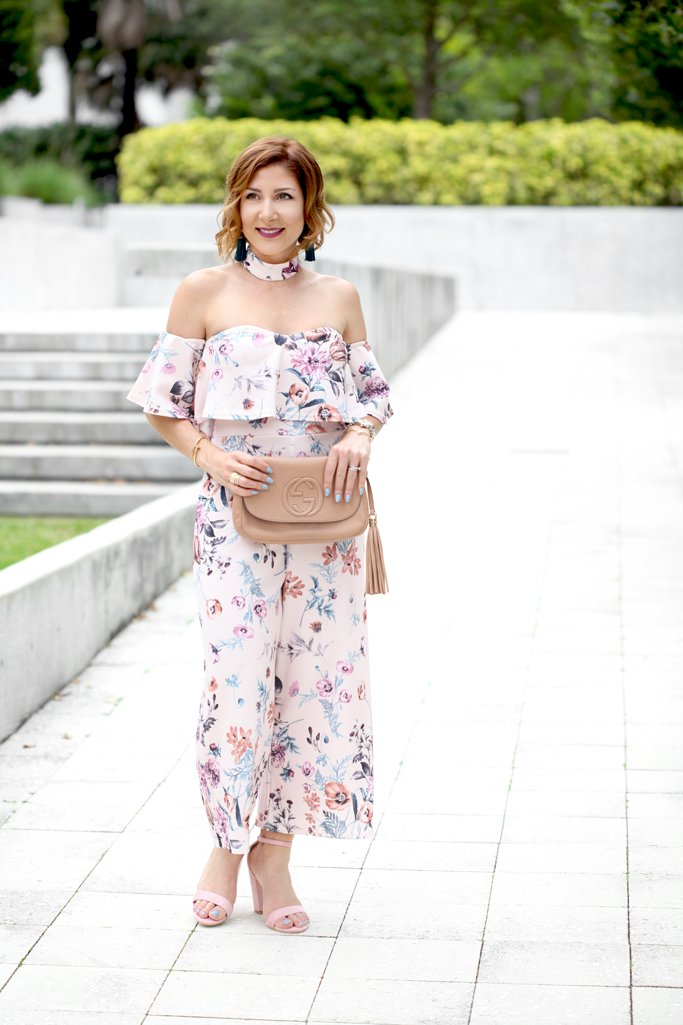 Blame it on Mei @blameitonmei Miami Fashion Blogger 2017 Floral Off The Shoulder Gracie Boohoo Culotte Jumpsuit