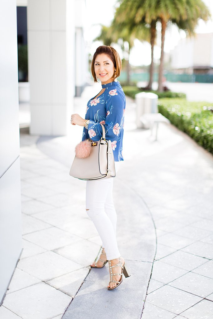 Blame-it-on-Mei-Miami-Fashion-Blogger-2017-Casual-Summer-Look-Spring-Outfit-Floral-Cutout-Blouse-Choker-Top-White-Denim-Fendi-Peekaboo-Gray-Valentino-City-Sandals-Baublebar-Tassel-Earrings