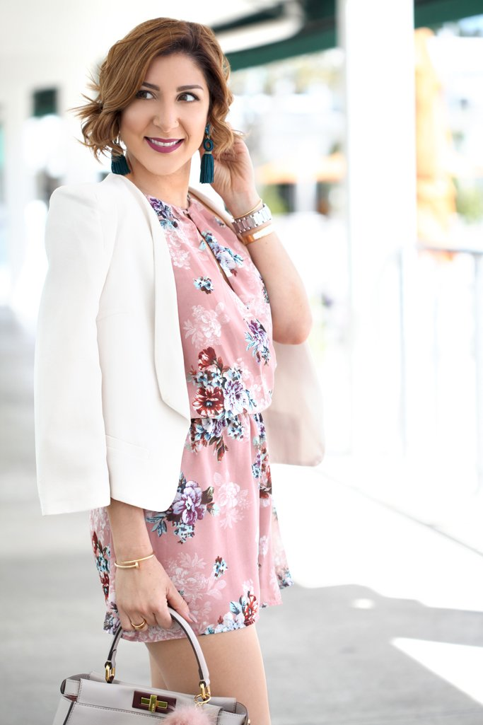 Blame-it-on-Mei-@blameitonmei-Miami-Fashion-Blogger-2017-Casual-Summer-Look-Spring-Outfit-Floral-Romper-with-White-Blazer-Fendi-Peekaboo-Gray-Valentino-City-Sandals-Baublebar-Tassel-Earrings
