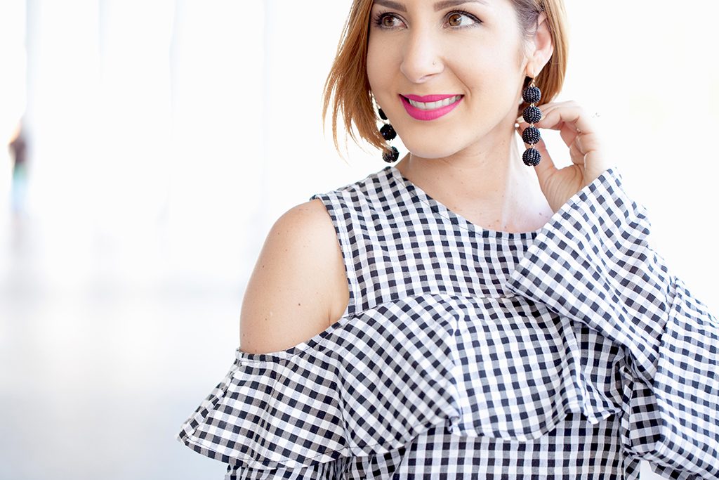 Blame it on Mei, @blameitonmei, Miami Fashion Blogger, 2017, Gingham Dress, Tiered Bell Sleeve