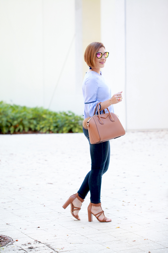 Blame it on Mei, @blameitonmei, Miami Fashion Blogger, 2017, Stripes Bell Sleeve Top With Wave Trim