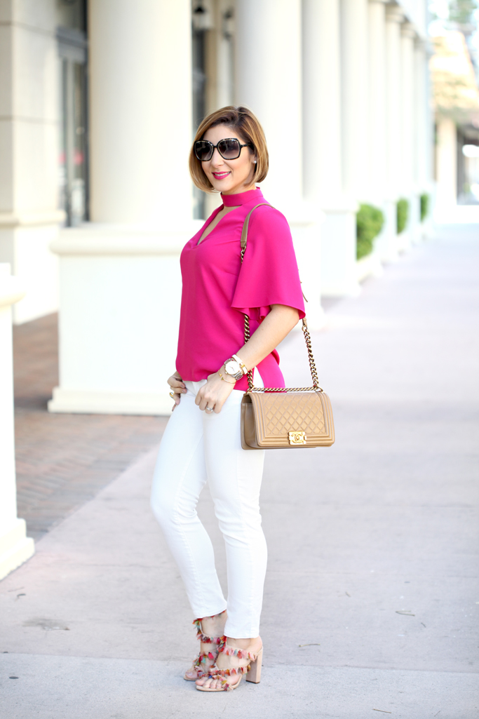 Blame it on Mei, @blameitonmei, Miami Fashion Blogger, 2017 How To Style White Jeans Denim, Cut Out Top, Chanel Medium Boy, Chloe Tassel Handbag
