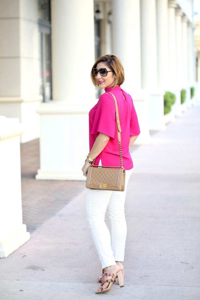 Blame it on Mei, @blameitonmei, Miami Fashion Blogger, 2017 How To Style White Jeans Denim, Cut Out Top, Chanel Medium Boy, Chloe Tassel Handbag