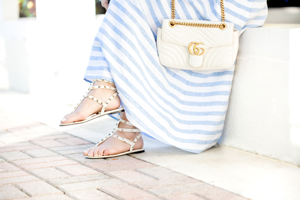 Blame it on Mei, @blameitonmei, Miami Fashion Blogger, Summer Look, Stripe Linen Long Dress, Gucci Marmont White