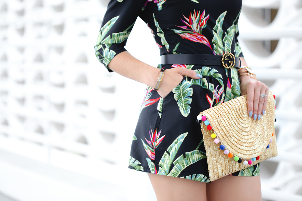 Blame it on Mei, @blameitonmei, Miami Fashion Blogger, Tropical Palm Romper, Summer Outfit