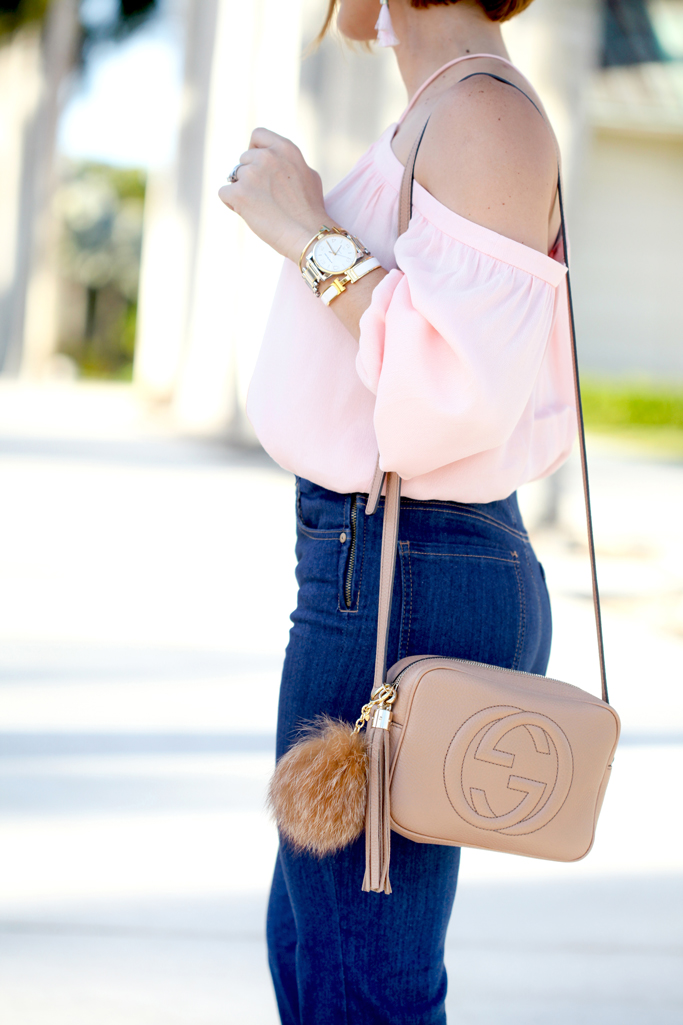 Blame it on Mei, @blameitonmei, Miami Fashion Blogger Halter Off The Shoulder Top, Flare Jeans, 70s Summer Look