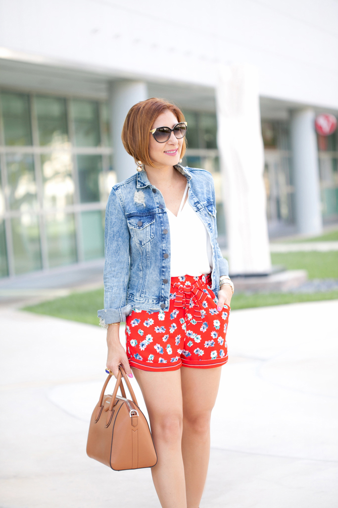 Blame it on Mei, @blameitonmei, Miami Fashion Blogger, Summer Shorts with Distressed Denim Jacket