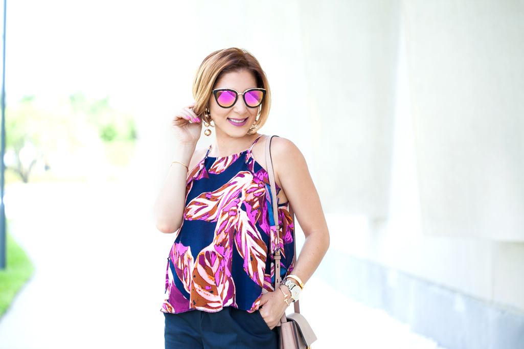 Blame it on Mei, @blameitonmei, Miami Fashion Blogger, Summer Floral Ruffle Halter Top with Shorts