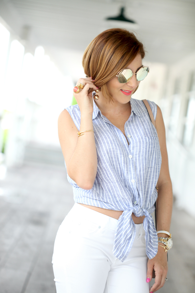 Blame it on Mei, @blameitonmei, Miami Fashion Blogger, Summer Stripe Tie Front Top