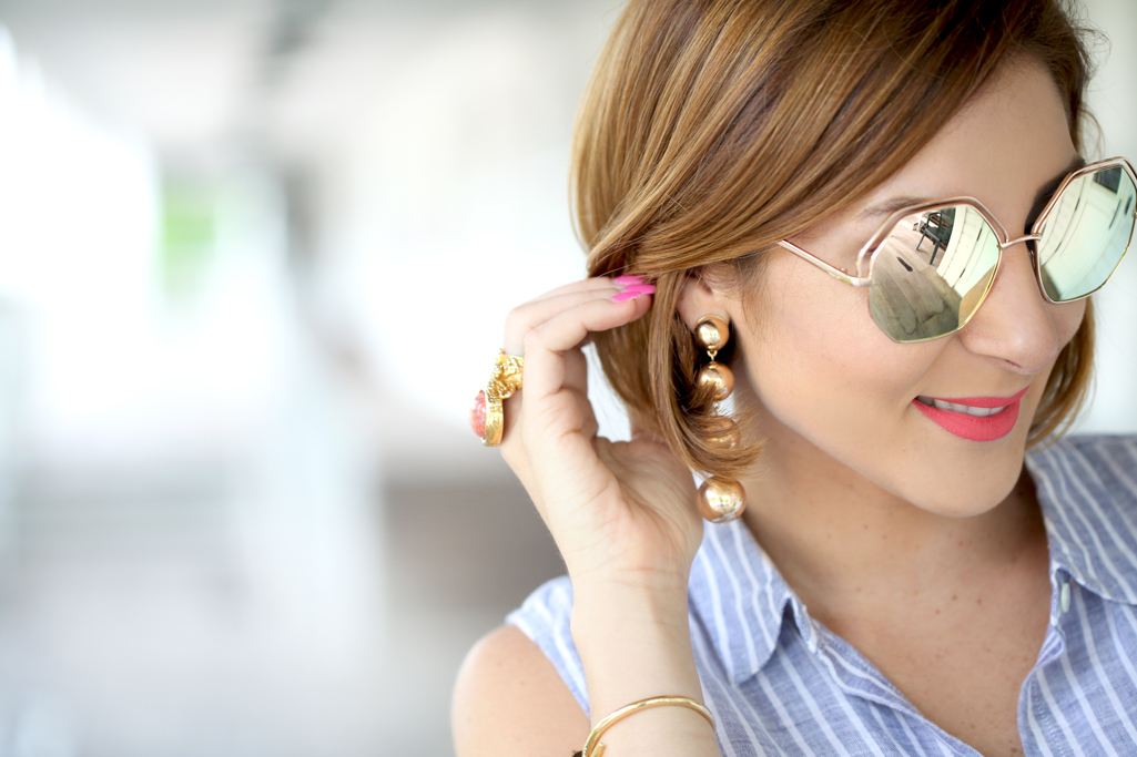 Blame it on Mei, @blameitonmei, Miami Fashion Blogger, Summer Stripe Tie Front Top