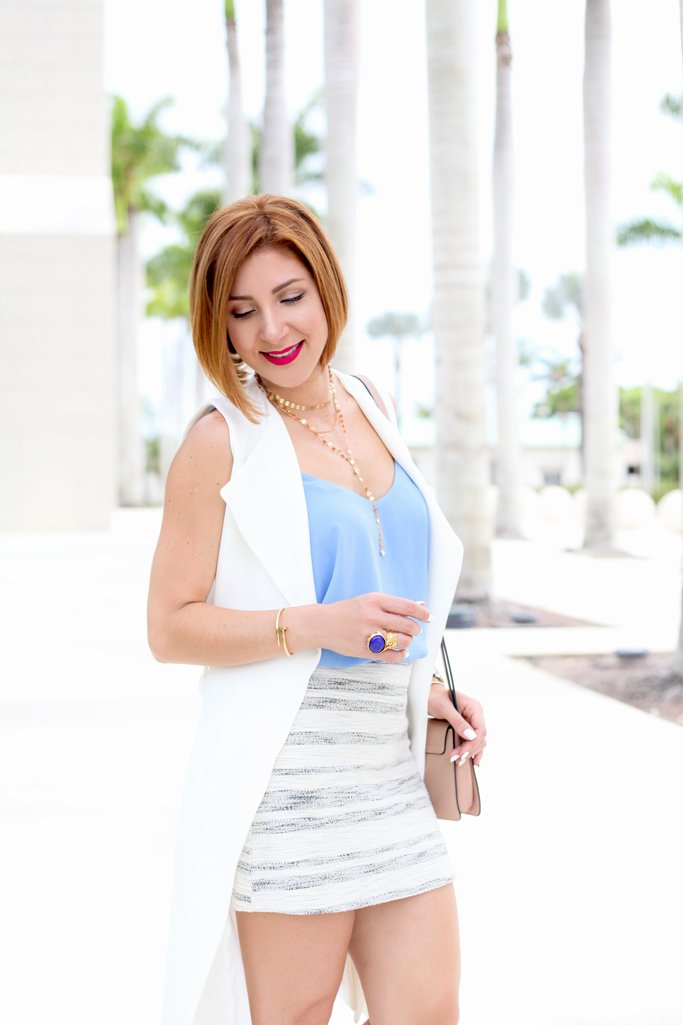Blame it on Mei, @blameitonmei, Miami Fashion Blogger, Summer Skirt, Trench Coat, Long Vest