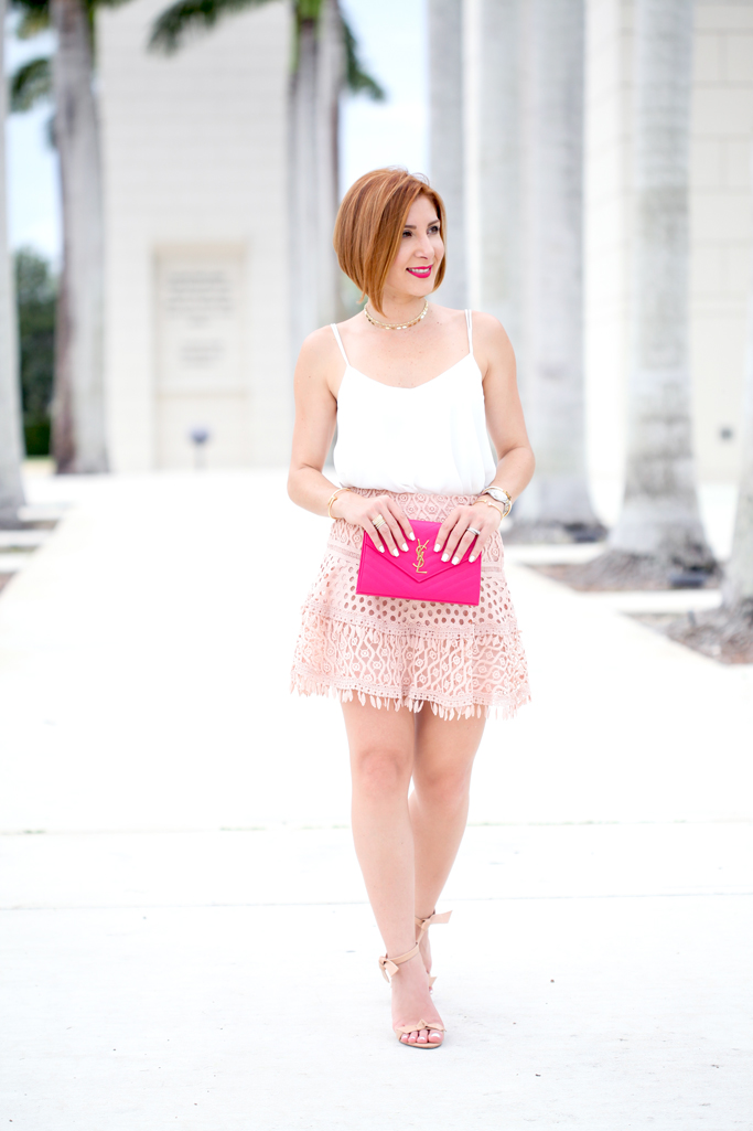 Blame it on Mei, @blameitonmei, Miami Fashion Blogger, Summer Date Night Look, Lace Mini Skater Skirt
