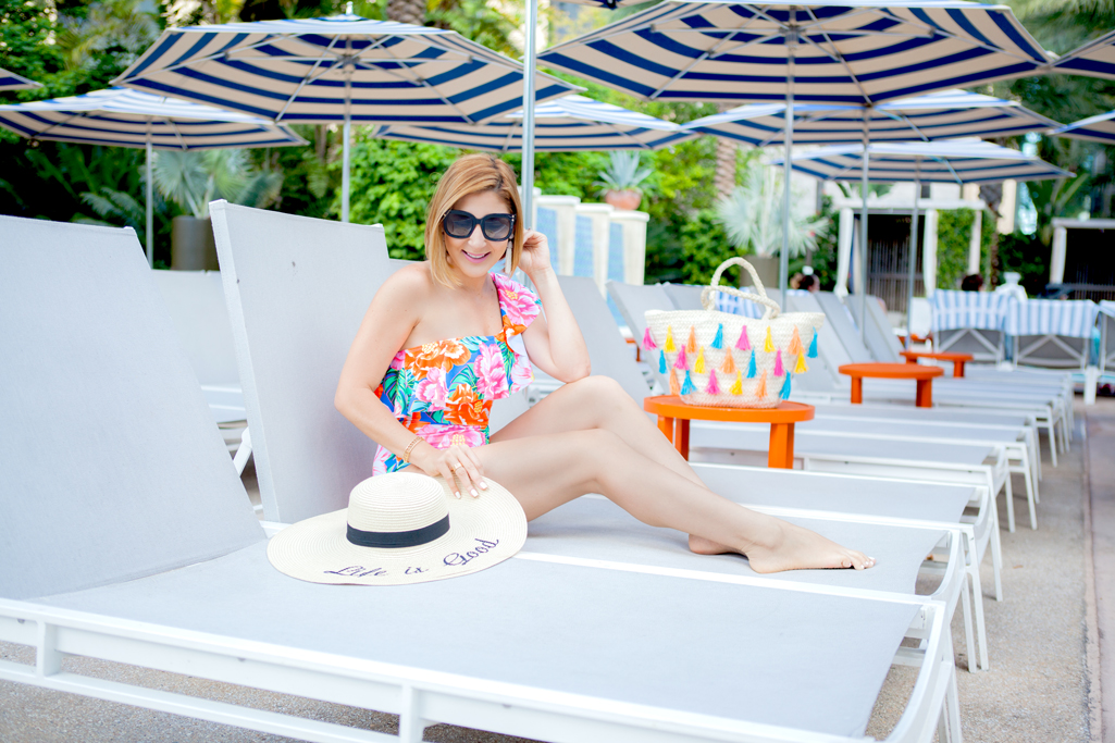 Blame it on Mei, @blameitonmei, Miami Fashion Blogger, Summer Staycation, Hilton West Palm Beach, One-shoulder floral swimsuit