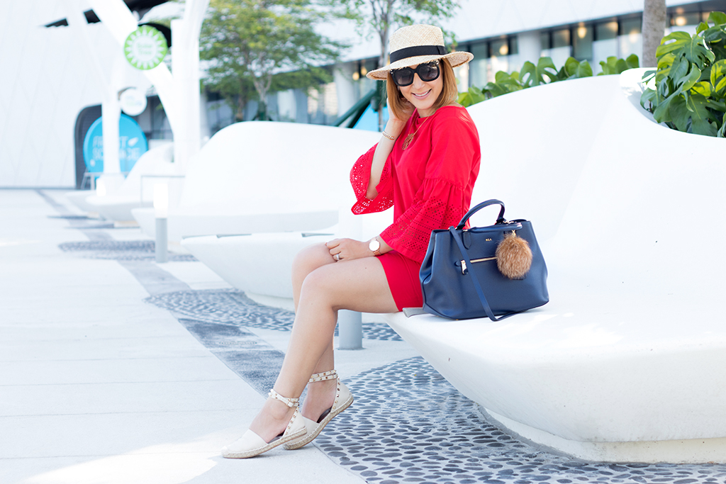 Blame it on Mei, @blameitonmei, Miami Fashion Blogger, Summer Look, Bell Sleeve Red Summer Dress Same dress two ways
