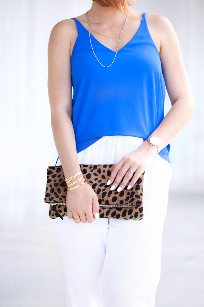 Blame it on Mei, @blameitonmei, Miami Fashion Blogger, Summer Look, Two Outfits with Same Pieces, Neck Scarf, Linen Pants, Clare V Leopard clutch