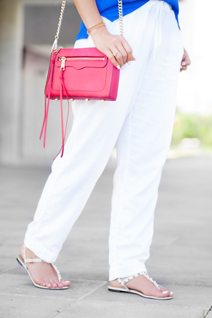 Blame it on Mei, @blameitonmei, Miami Fashion Blogger, Summer Look, Two Outfits with Same Pieces, Neck Scarf, Linen Pants, Rebecca Minkoff Avery, Valentino Rockstud Flat Sandal