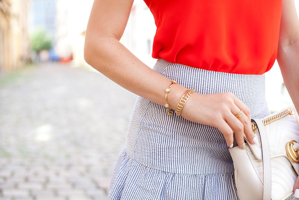 Blame it on Mei, @blameitonmei, Miami Fashion Blogger, Summer Travel Look, Seersucker Ruffle Skirt, Boater hat, Prague, Czech Republic