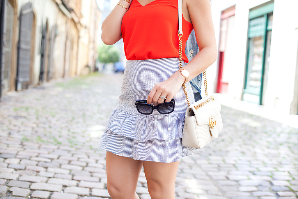 Blame it on Mei, @blameitonmei, Miami Fashion Blogger, Summer Travel Look, Seersucker Ruffle Skirt, Boater hat, Prague, Czech Republic