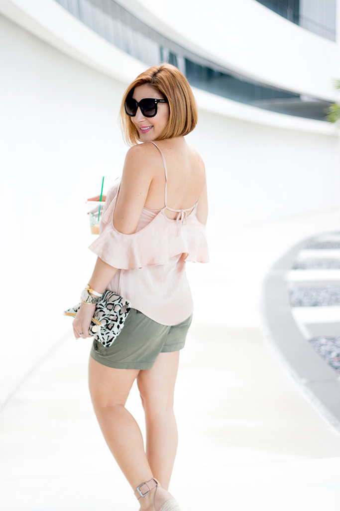 Blame it on Mei, @blameitonmei, Miami Fashion Blogger, Summer Look, Cold Shoulder Ruffle Cami