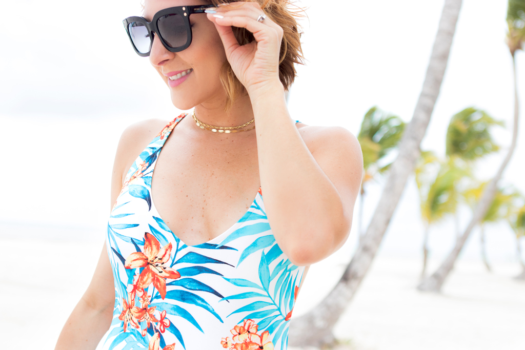 Blame it on Mei, @blameitonmei, Rip Curl Tropical Print One Piece Swimsuit, Henri Bendel Amanda Sunglasses