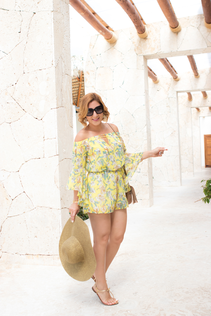 Blame it on Mei, @blameitonmei, Fashion Travel Blogger, bell Sleeve Romper, Summer Tropical Outfit